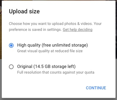 Pick the size of photos in Google Photos