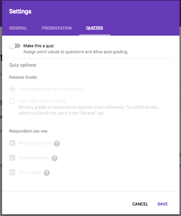 how to make an auto answer google forms