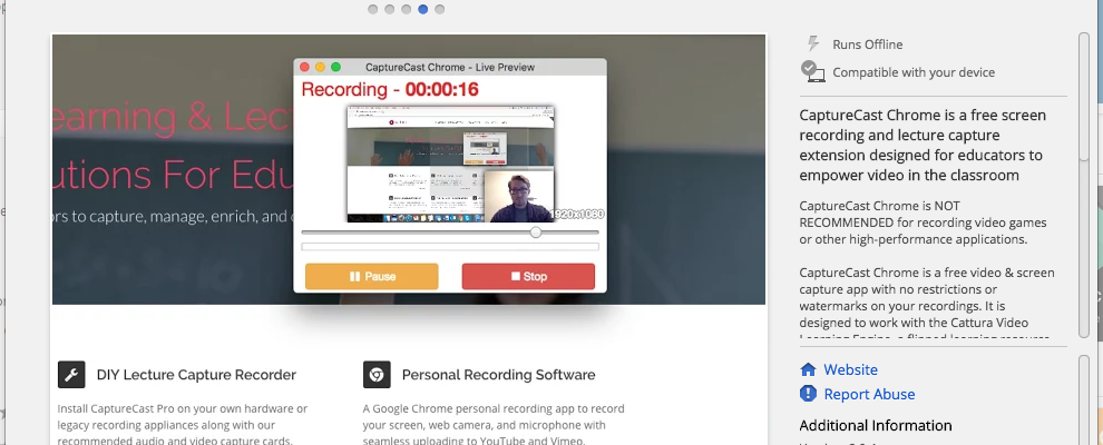 CaptureCast is another option for recording screencasts with Chrome and Chromebooks